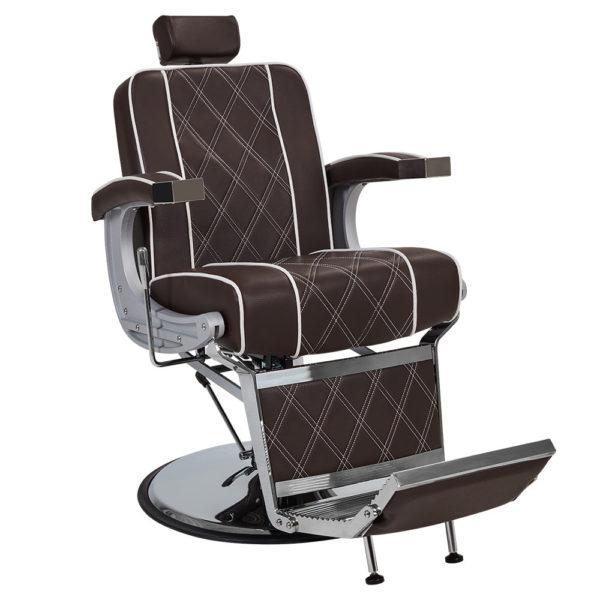 piękny fotel barberski ayala borg brązowy