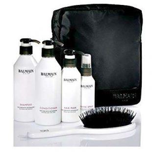 Zestaw szczotka, szampon, odżywka, maska, spray nabłyszczający do włosów przedłużanych i zagęszczanych Balmain