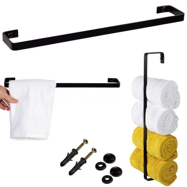 ręczniki uchwyt industrialny czarny stal